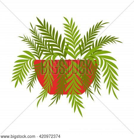 A Houseplant, A Fern In A Red Pot. Vector Illustration In Flat Cartoon Style, Isolated On White Back