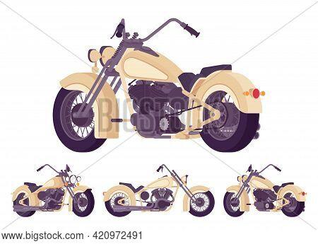 Chopper Custom Beige Decor Classic Motorcycle, Bobber Bike. Fast Motorsport, High Speed Sport Vehicl