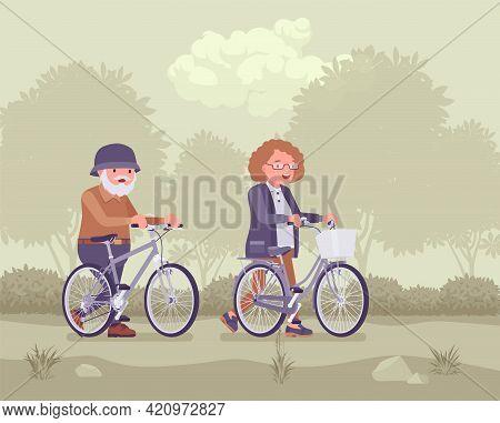 Active Seniors, Happy Healthy Elderly People Enjoy Sport, Riding Bicycle. Couple Of Older Adults Enj