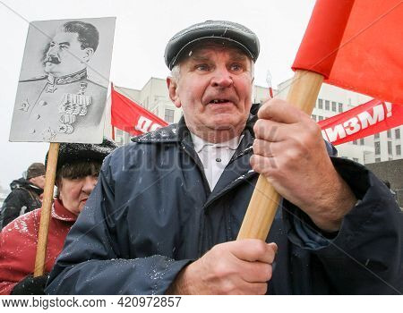 Belarus.minsk. Today It Is Marked The 90 Anniversaries Of The Great October Socialist Revolution.the