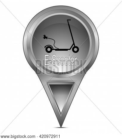 Map Pointer With E-scooter Silver - Illustration