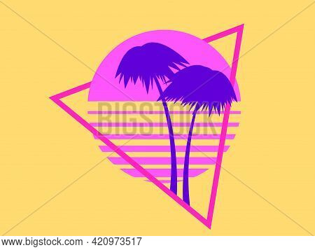 Summer Time. 80s Palm Trees On A Sunset. Retro Sci-fi Sun In Triangle, Futuristic Logo. Synthwave An