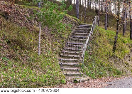 Wooden stairs on a grassy hillside. Magnificent Umbria in December. The picturesque mountain slopes are covered with coniferous forest.