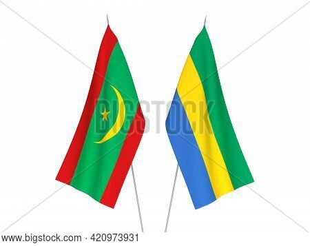 National Fabric Flags Of Gabon And Islamic Republic Of Mauritania Isolated On White Background. 3d R