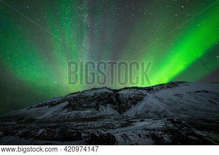 Northern lights at Raudfeldar Canyon, Iceland