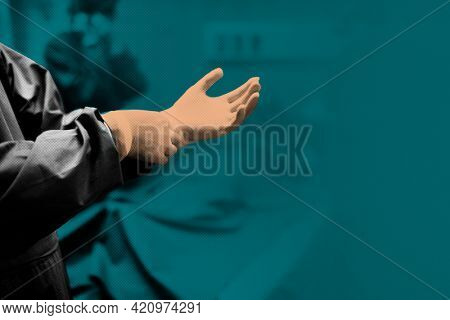 Doctor putting on a glove to prevent coronavirus contamination