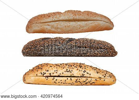 Sandwich Loaf Isolate On White Background. Long Hot Dog Roll. Sesame Rolls Are White And Black. Side