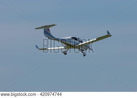 Diamond Da-40 Aircraft Is Approaching At The Airport Saint Gallen Altenrhein In Switzerland 21.4.202