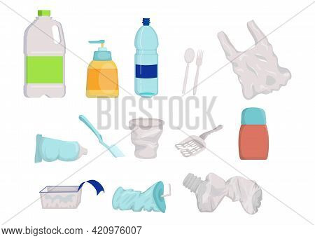 Collection Of Plastic Empty Or Broken Trash. Cartoon Vector Illustration. Not Recyclable Litter, Rub