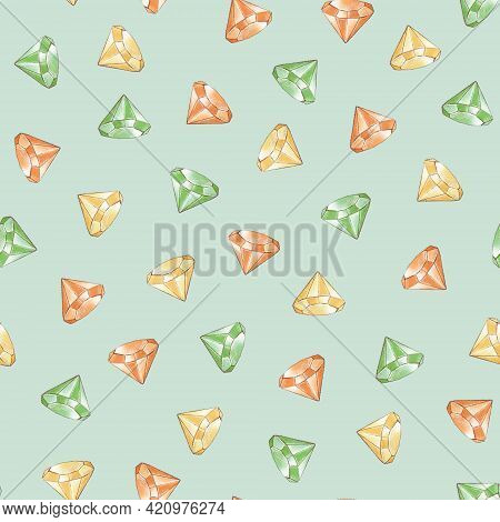 Seamless Pattern. Precious Crystals For St. Patricks Day