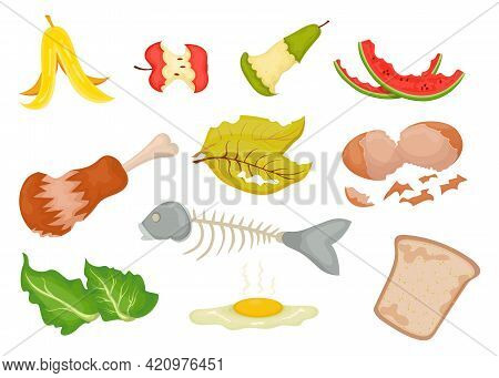 Collection Of Organic Waste Cartoon Vector Illustration. Spoiled Vegetables And Fruits, Leftovers Ga
