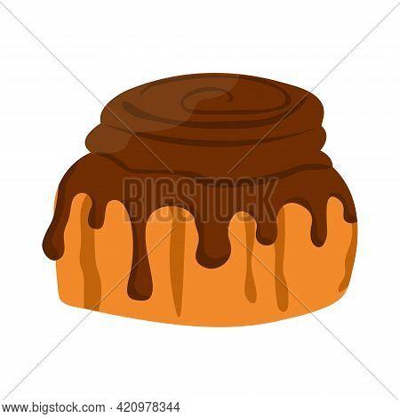 Cinnamon Bun With Chocolate Topping. Baked Sweet Roll Doodle Icon. Fresh Swedish Kanelbulle Swirl Pa