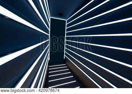 abstract corridor with fluorescent tube lights