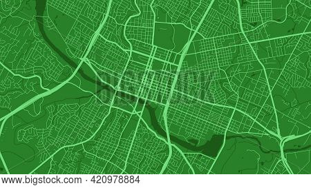 Green Austin City Area Vector Background Map, Streets And Water Cartography Illustration. Widescreen