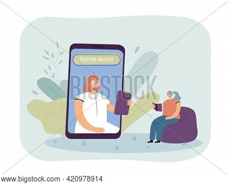Patient At Online Therapy Session. Female Character On Huge Phone Screen, Woman Taking Notes Flat Ve
