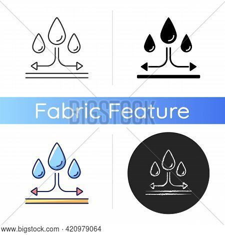 Water Repellent Fabric Feature On Fabric Icon. Rain Proof Fiber Property. Textile Quality. Imperviou