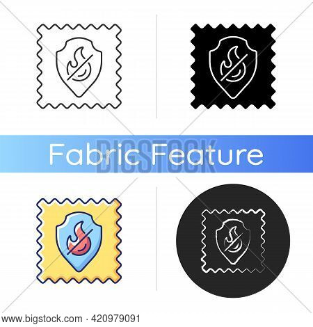 Fireproof Fabric Feature On Fabric Icon. Non Inflammable Fiber Label. Fire Protection. Special Texti