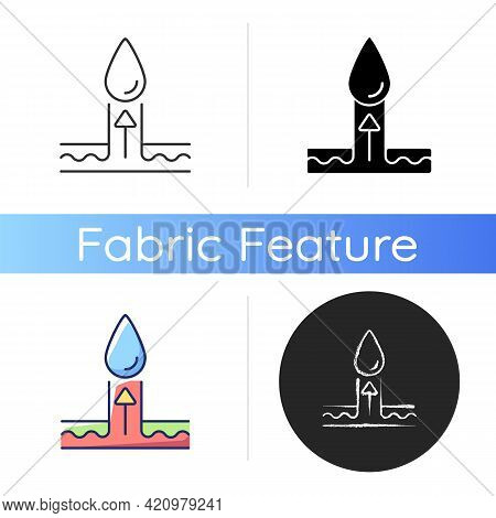 Moisture Wicking Fabric Feature Icon. Moisture Wicking Fabric Feature Black Glyph Icon. Draw Moistur