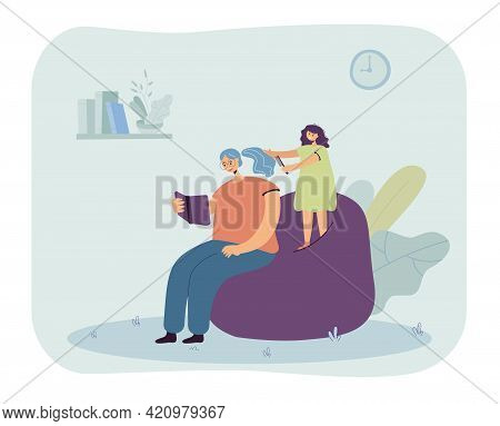 Daughter Brushing Hair Of Mother. Woman Reading Book, Girl Combing Hair Flat Vector Illustration. Fa
