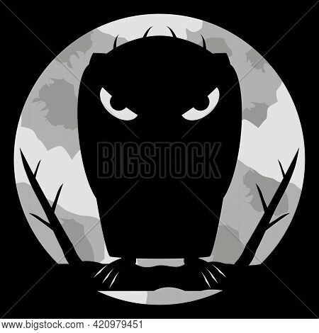 Monster Vampire With Scary Eyes And Sharp Claws On Night Background And Of A Large Pale Moon. Dark S