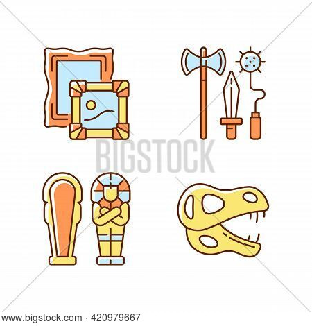 Archaeological Excavation Rgb Color Icons Set. Paintings. Knight Weapons. Dinosaur Skeleton. Egyptia