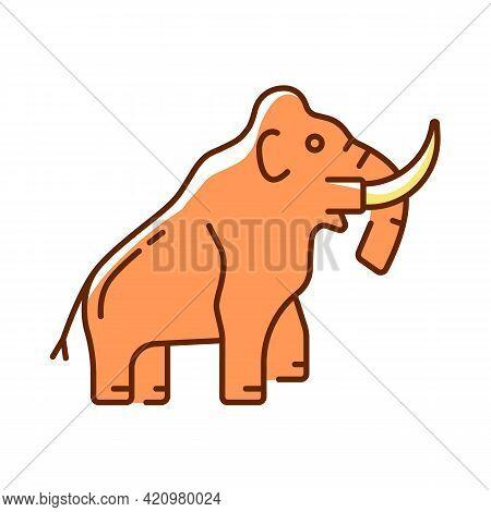 Mammoth Skeleton Rgb Color Icon. Trunked Mammal. Paleontological Excavation. Elephant-like Bones. Mu