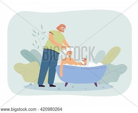 Mother Bathing Son And Washing Hair. Woman Helping Boy Clean Himself, Foamy Bathtub, Kid Holding Soa