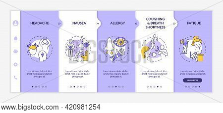 Air Contamination Disease Symptoms Onboarding Vector Template. Responsive Mobile Website With Icons.
