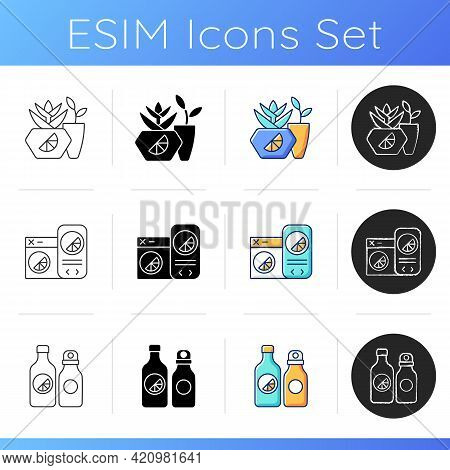 Company Branding Materials Icons Set. Branded Eco Office Equipment. Specially Designed Stylish Cloth