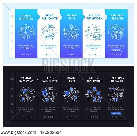 Basic Business Morals Onboarding Vector Template. Responsive Mobile Website With Icons. Web Page Wal