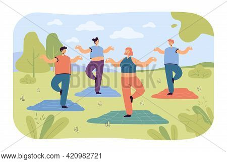 People Doing Yoga In Park. Cartoon Characters At Outdoor Yoga Class, Practicing Self-care Flat Vecto