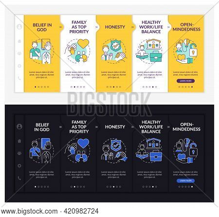 Personal Creeds Onboarding Vector Template. Responsive Mobile Website With Icons. Web Page Walkthrou