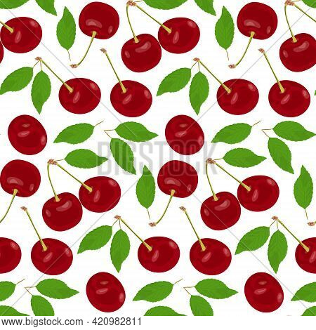 Pattern With Ripe Red Juicy Cherries On A White Background. Sweet Red Cherries With Leaves And Branc