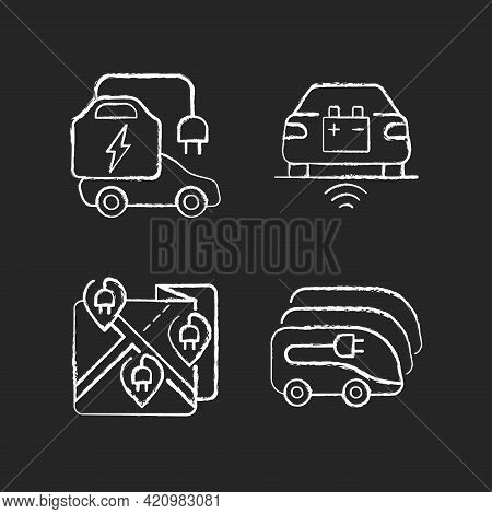 Electric Vehicle Charging Chalk White Icons Set On Black Background. Charging Time Of Electromobiles