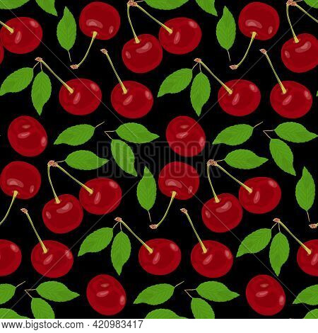 Red Ripe Cherries Are Scattered On A Black Background. Red Cherries With Green Leaves And Stems On A
