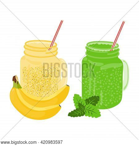 Banana And Green With Mint Smoothies In A Glass Jar With A Straw Isolated On A White Background. Fru