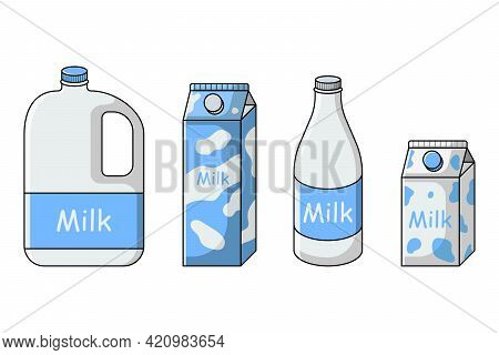 Milk Set In Different Packages Carton, Bottle, Gallon, Canister. Isolated Vector Illustration On Whi