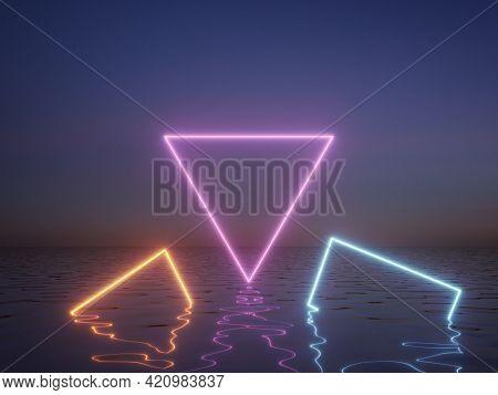 Neon sign in fog above water, night scene, 3D illustration, rendering.