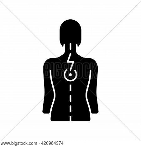 Pressure On Spinal Nerves Black Glyph Icon. Muscle Spasms. Pain Between Shoulder Blades. Numbness, T