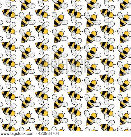 Seamless Pattern With Bees On White Background. Small Wasp. Vector Illustration. Adorable Cartoon Ch