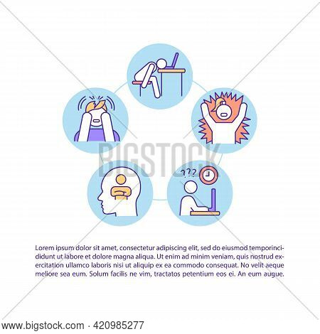 Burnout Symptom Concept Line Icons With Text. Ppt Page Vector Template With Copy Space. Brochure, Ma