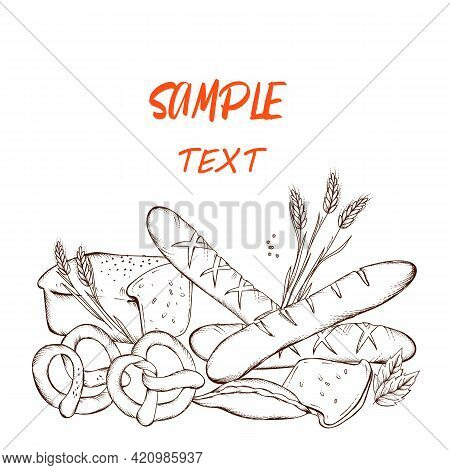 Bread Shop Or Bakery Banner Or Poster Design With Copy Space For Text. Bakery Products In Hand Drawn