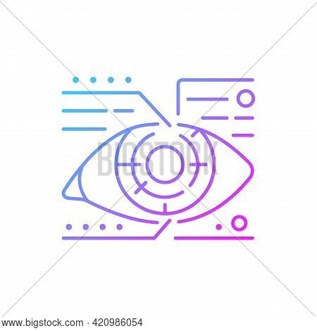 Lens Microcircuit Gradient Linear Vector Icon. Android Eye With Specs Info. Cyberpunk, Sci Fi. Futur