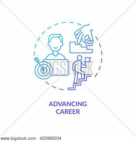 Advancing Career Navy, Blue Gradient Concept Icon. Business Development. Personal Growth. Profession