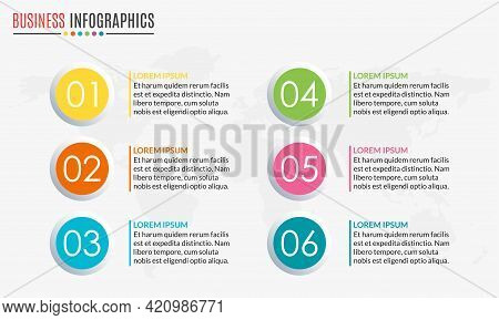 Menu Template With Circular Diagram Set Or Pie Chart. 6 Steps, Options, Stages Or Levels. Layout Wor