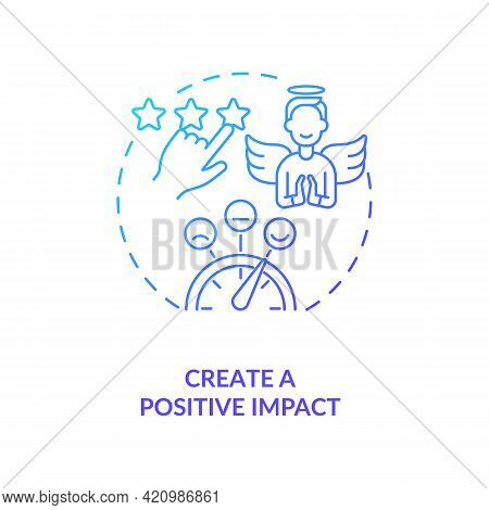 Create Positive Impact Navy Gradient Concept Icon. Digital Footprint. Personal Branding Strategy. Co