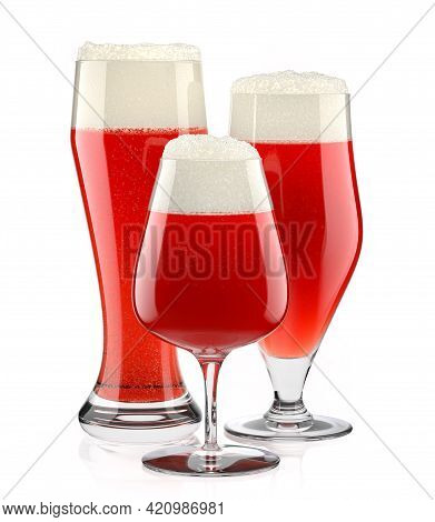 Set Of Fresh Draft Beer Glasses With Bubble Froth Isolated On A White Background. 3d Rendering Conce