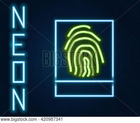 Glowing Neon Line Fingerprint Icon Isolated On Black Background. Id App Icon. Identification Sign. T