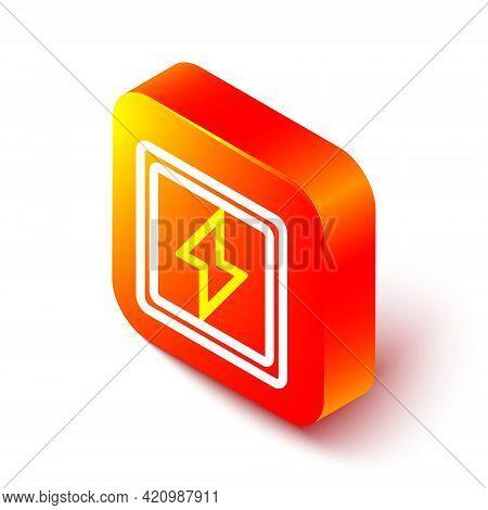 Isometric Line Lightning Bolt Icon Isolated On White Background. Flash Sign. Charge Flash Icon. Thun