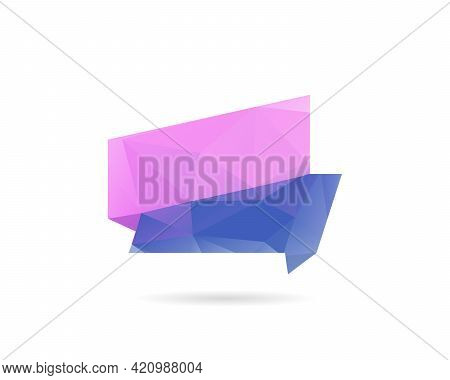 Geometric Ribbon From Triangles, Abstract Vector Banner. Low Polygonal Label